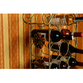 Suport de vin, decorativ, 10-0369, auriu patinat